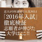 近大が3年連続で人気NO.1!「2016年入試」徹底検証!志願者が伸びた大学はここだ!!