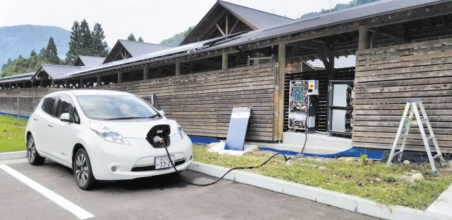 「配電線」に見立てた電気自動車で電力の輸送も行う